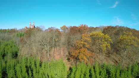 A-nice-aerial-rising-shot-above-the-treetops-reveals-the-Holy-Hill-Christian-monastery-in-rural-Wisconsin