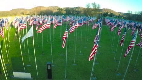 Una-Antena-Sobre-Una-Exhibición-De-Banderas-Americanas-Honra-A-Los-Veteranos-Americanos-1