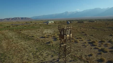 Stunning-aerial-over-the-Manzanar-Japanese-relocation-camp-ruins-in-the-Mojave-Desert-of-California