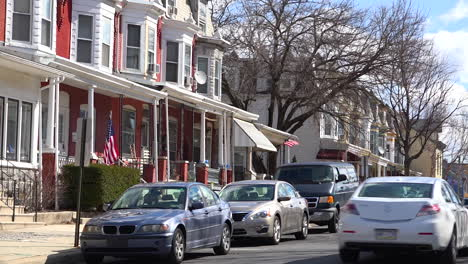 A-residential-street-in-Reading-Pennsylvania-of-rowhouses-and-homes-in-typical-Pennsylvania-style
