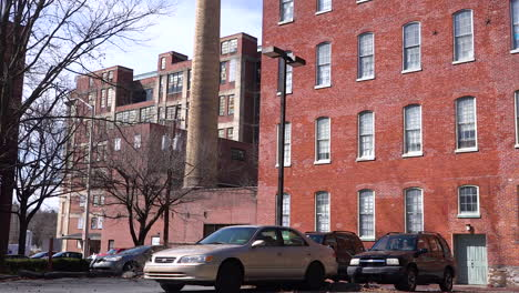 An-establishing-shot-of-apartments-in-an-industrial-warehouse-district-of-Reading-Pennsylvania