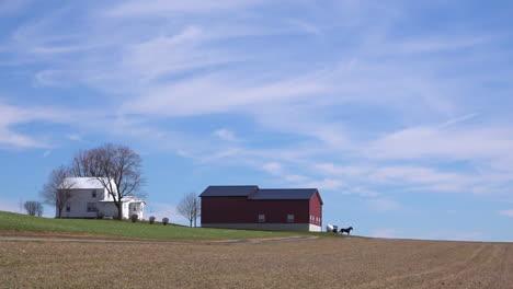 Un-Plano-Muy-Amplio-De-Una-Granja-Amish-O-Menonita-Aislada-En-El-Medio-Oeste-De-Estados-Unidos-Con-Un-Carro-De-Caballos-Pasando