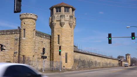 Establishing-shot-of-the-defunct-old-Joliet-prison-near-Chicago-Illinois