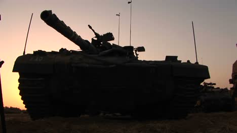 An-Israeli-army-tank-is-parked-on-the-border-of-the-Gaza-strip