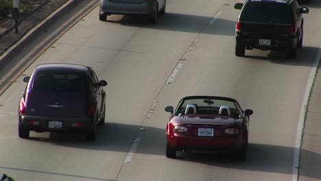 A-sports-car-drives-on-the-interstate