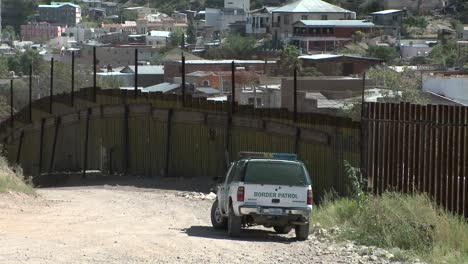 A-border-patrol-vehicle-is-stationed-at-a-border