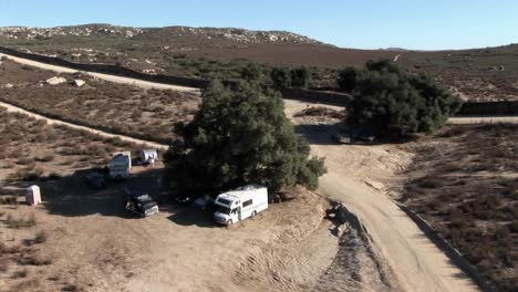 Campers-are-parked-under-a-tree-in-a-remote-area