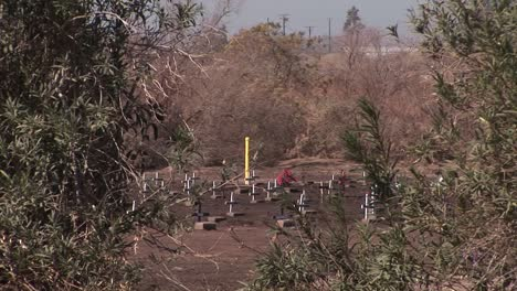 A-field-of-wooden-crosses-is-being-viewed-from-a-hillside-across-from-a-busy-roadway