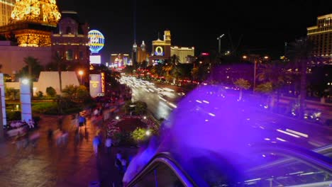 A-time-lapse-of-vehicles-and-people-at-night-in-Las-Vegas