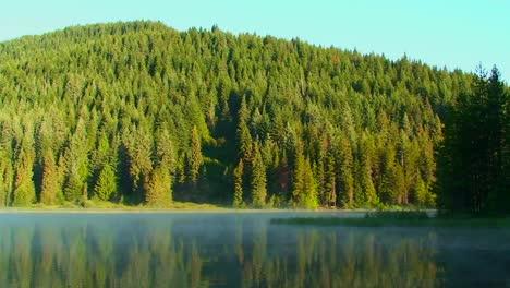 Dampf-Bewegt-Sich-über-Den-Trilliumsee-Der-Von-Pinien-Umgeben-Ist-Und-In-Der-Nähe-Von-Mt-Hood-In-Oregon-Or
