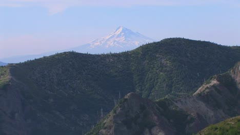 A-snowcapped-mountain-rises-above-a-forest-at-Mt-St-Helens-National-Park-1