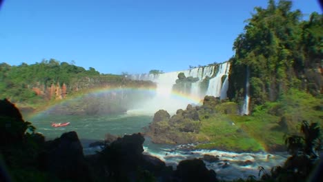 Argentina-Iguazu-Falls-wide-angle-with-rainbow-and-boat-