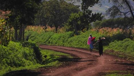 Eine-Frau-Und-Ein-Junge-Gehen-Eine-Landstraße-Entlang-Der-Junge-Trägt-Ein-Paket-Und-Die-Frau-Einen-Sonnenschirm