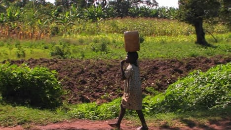 A-woman-walks-along-a-country-road-carrying-a-package-on-her-head