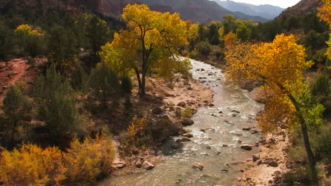 A-river-flows-through-a-lovely-fall-forest