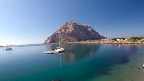 An-aerial-over-sailboats-sailing-in-Morro-Bay-California