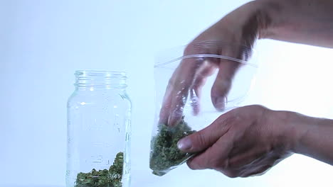 A-person-puts-marijuana-in-a-glass-jar-from-a-plastic-bag