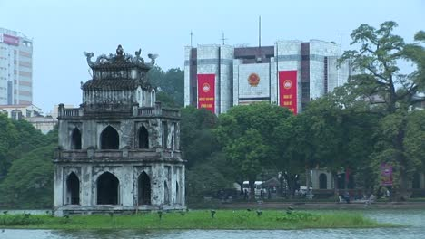 A-temple-on-an-island-in-downtown-Hanoi-Vietnam
