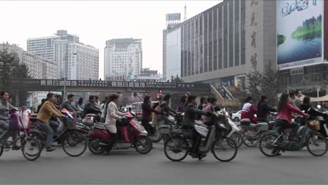 Motorcycles-crowd-a-street-in-Beijing-China