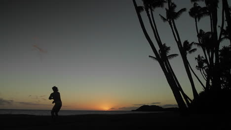 Native-Hawaiian-dancer-performs-in-the-distance-at-dusk