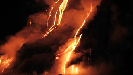 Spectacular-nighttime-lava-flow-from-a-volcano-into-ocean-2