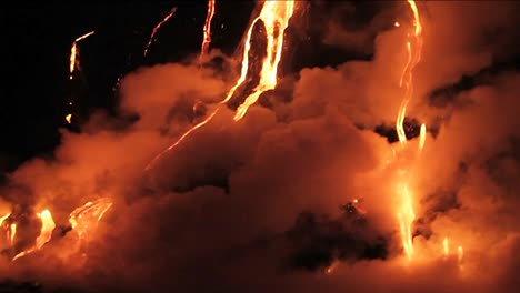 Spectacular-nighttime-lava-flow-from-a-volcano-into-ocean-3