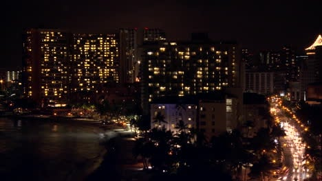 A-time-lapse-shot-of-Honolulu-by-night