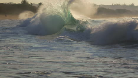 Waves-roll-into-a-beach-following-a-big-storm