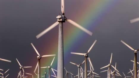 Gorgeous-rainbows-illuminate-wind-powered-generators-spinning