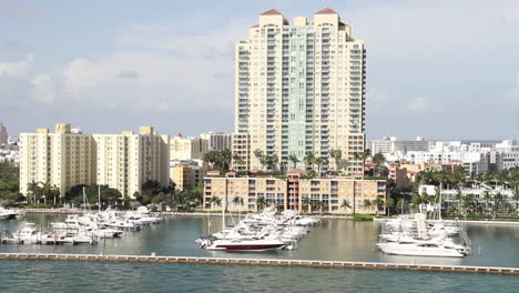 Wide-shot-of-downtown-Miami-Florida-POV-from-a-cruise-ship