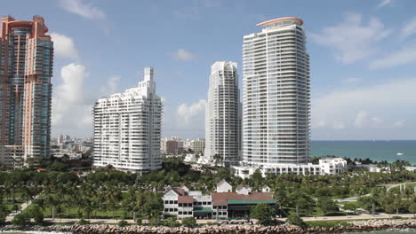 Wide-shot-of-downtown-Miami-Florida-and-high-rise-apartments-POV-from-a-cruise-ship