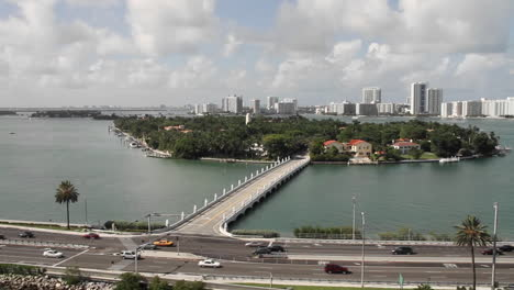 Wide-shot-Miami-Florida-roads-and-high-rise-apartments-POV-from-a-cruise-ship