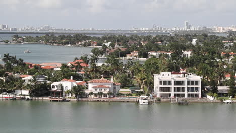 Wide-shot-Miami-Florida-roads-and-homes-POV-from-a-cruise-ship