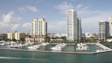 Wide-shot-Miami-Florida-high-rise-apartments-from-the-POV-from-a-cruise-ship