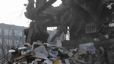 An-excavator-removes-debris