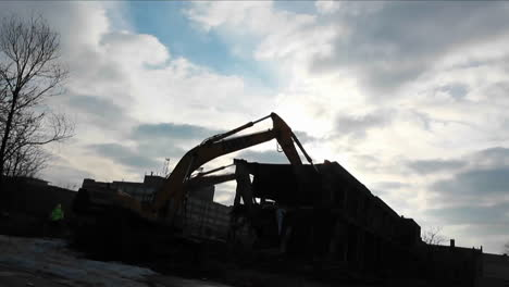 A-bulldozer-equipment-is-clearing-materials-from-one-place-to-another