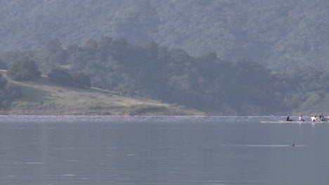 Panning-an-eight-person-rowing-sweep-being-followed-by-their-coach-on-Lake-Casitas-in-Oak-View-California-1