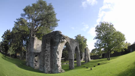 Time-lapse-of-clouds-passing-over-Armagh-Friary-ruins-from-1263-in-Armagh-Northern-Ireland
