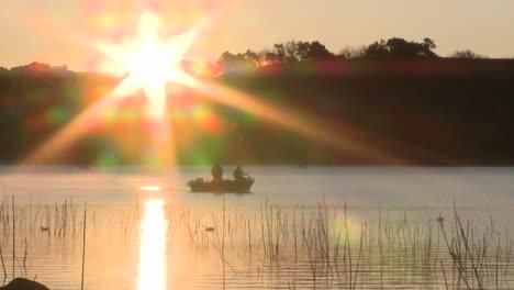 Fishing-boat-at-sunrise-on-Lake-Casitas-Recreation-Area-in-Oak-View-California