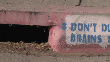 Pan-of-a-Don-t-Dump-Drains-to-Creek-sign-in-Ojai-California