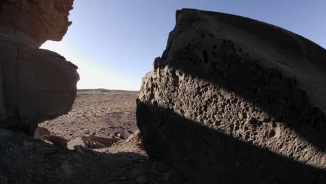 Zeitraffer-Von-Bewegten-Schatten-Auf-Felsen-Im-Homolovi-Ruins-State-Park-Arizona