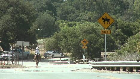 Horse-rider-next-to-a-horse-crossing-sign-at-the-Ventura-River-Preserve-in-Ojai-California