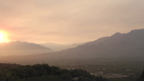 Wide-time-lapse-of-a-smoky-sunset-from-wildfires-in-Ojai-California