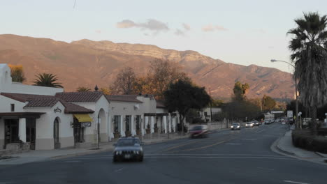 Time-lapse-of-sunset-on-the-Topa-Topa-Mountains-and-cars-in-downtown-Ojai-California