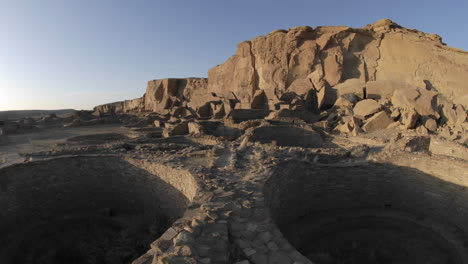 Time-lapse-of-sunset-on-the-great-kiva-at-Pueblo-Bonito-in-Chaco-Culture-National-Historical-Park-New-Mexico