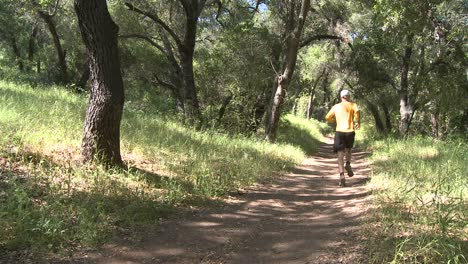Pan-of-a-man-trail-running-in-the-forest-on-the-Ventura-River-Preserve-in-Ojai-California