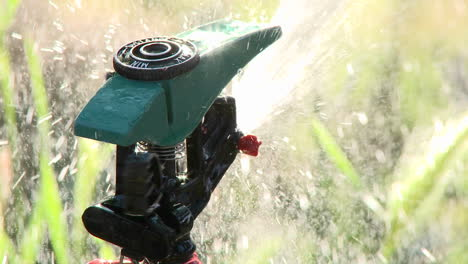 Closeup-rack-focus-on-a-sprinkler-spraying-water-in-Oak-View-California