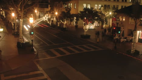 Night-time-lapse-of-State-Street-during-the-holidays-in-Santa-Barbara-California