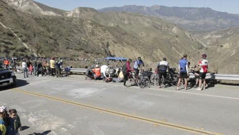 Time-lapse-of-the-peloton-during-the-2007-Tour-of-California-bike-race-passing-over-Balcom-Canyon-near-Santa-Paula-California