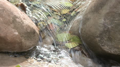 Close-up-zoom-out-on-a-waterfall-in-Wheeler-Springs-above-Ojai-California